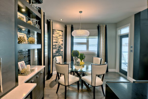 Elegant Contemporary Dining Room with White Leather Chairs