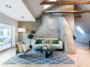 Cool Modern Apartment with Wood Beams