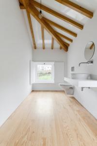 Minimalist Bathroom with Wood Beams and Natural Wood Floor