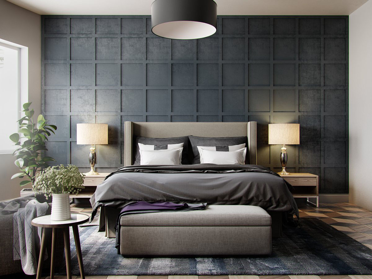 Stone And Wood Make A Dark Masculine Interior: Five Shades Of Grey Bedroom Design Ideas