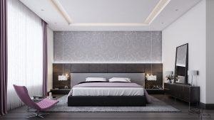 Grey and Purple Bedroom Design