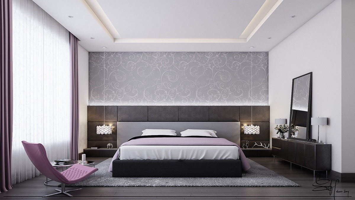Grey and Purple Bedroom Design