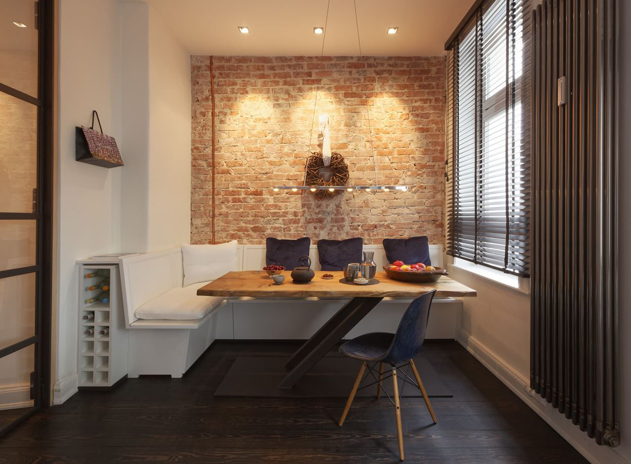 Small Apartment with Exposed Brick Walls