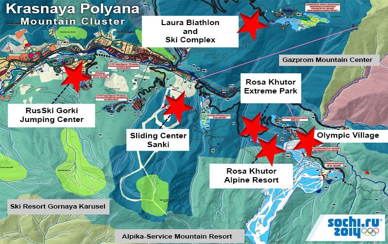 Sochi Olympics Krasnaya Polyana Mountain Cluster Map