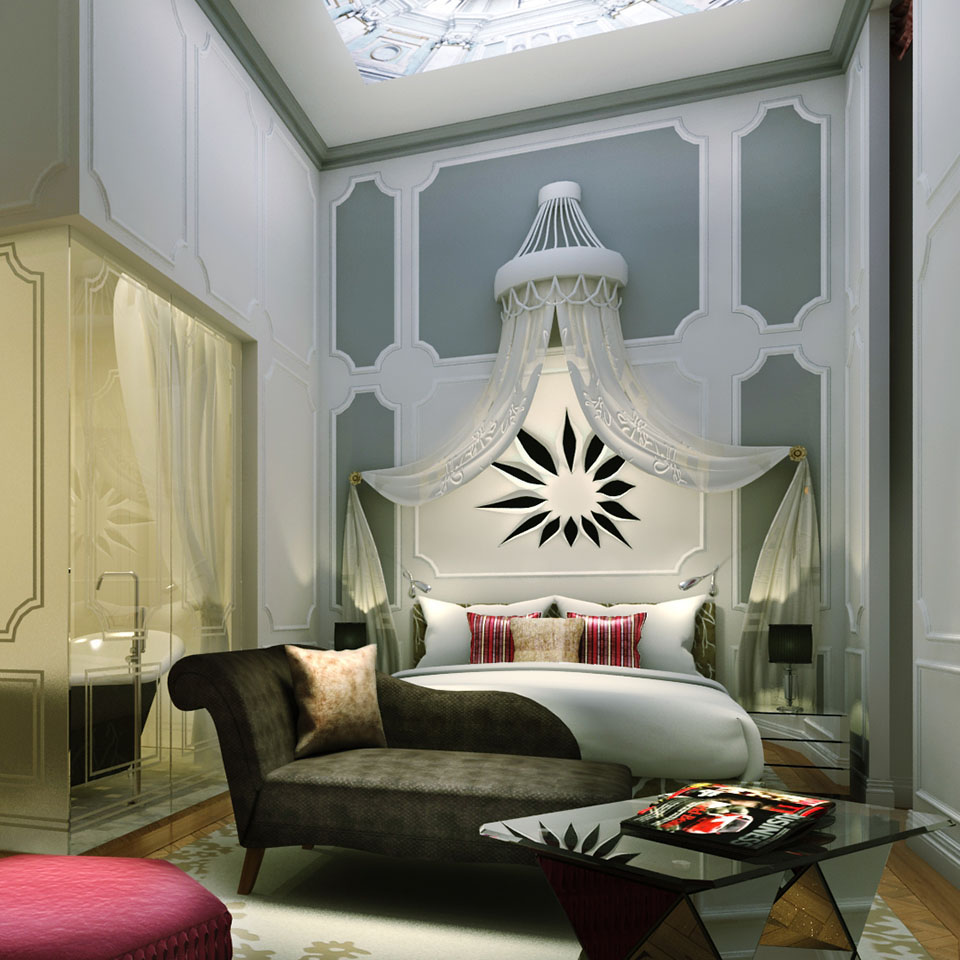 Parisian-style elegance bedroom interior decor