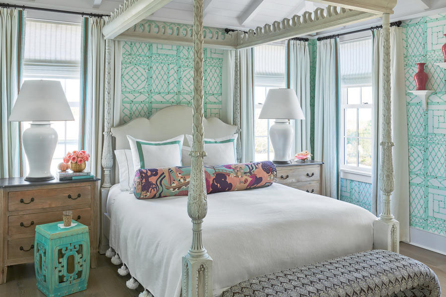 Teal And White Master Bedroom