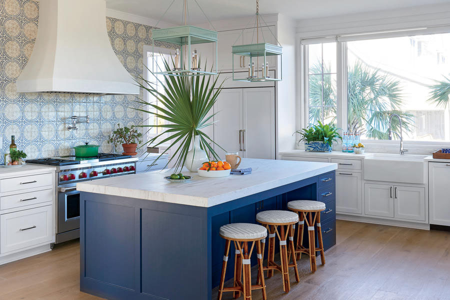 Beachy, Blue Coastal Style Kitchen