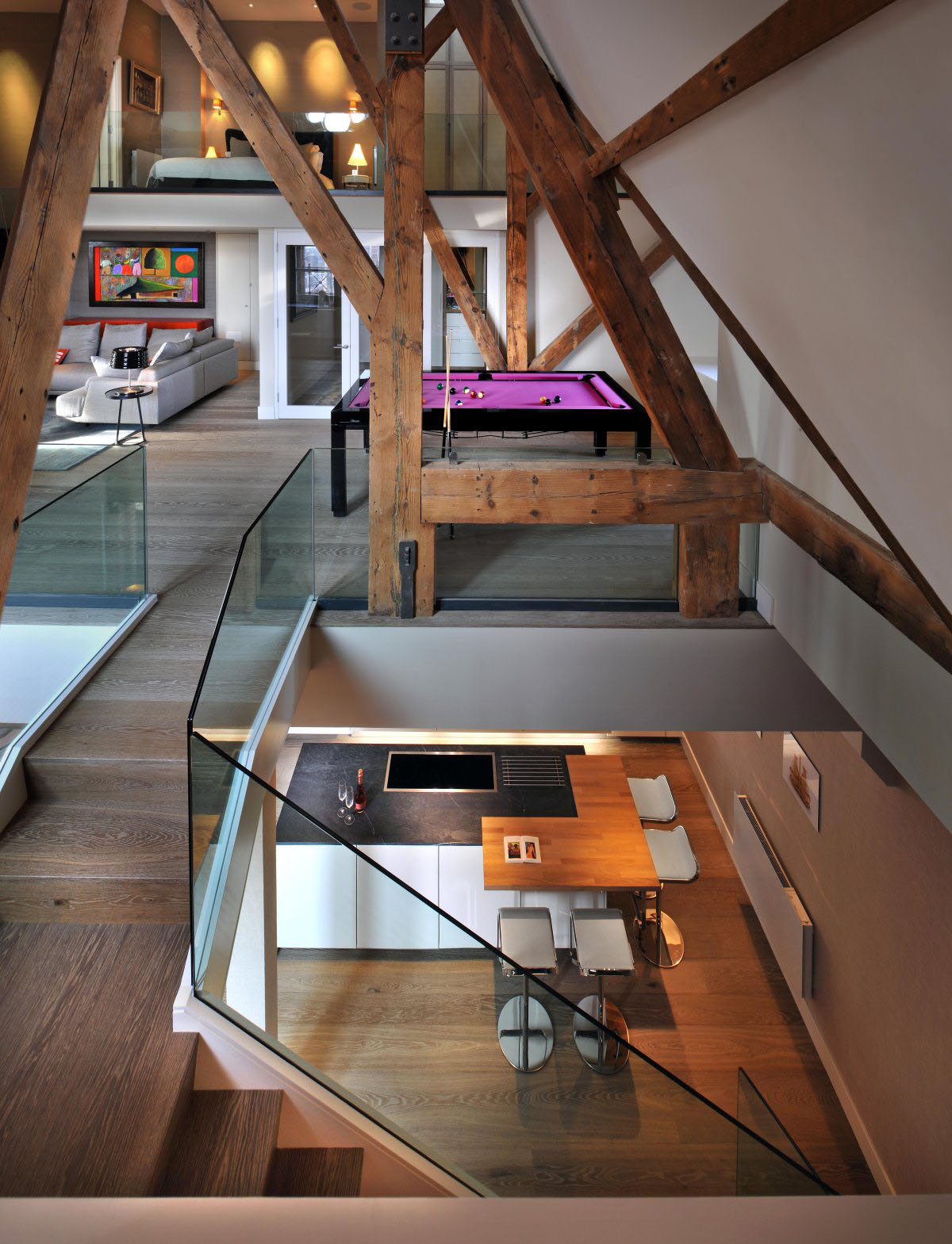 Penthouse with Wood Beams