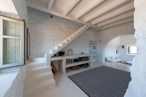 Modern Home Interior with White Stone Walls