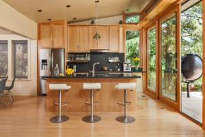 Modern Prefab Home with Wood Kitchen Cabinet