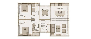 1,000 square foot prefab home floor plan