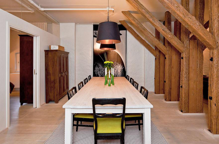 Rustic Dining Room with Wooden Beams
