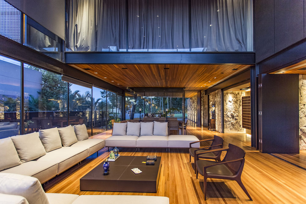 Modern Residence In Brazil Features Stones Wood Glass