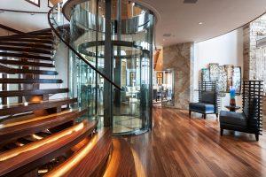Glass Elevator Spiral Staircase