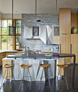 Contemporary Country Kitchen with White Granite Countertop