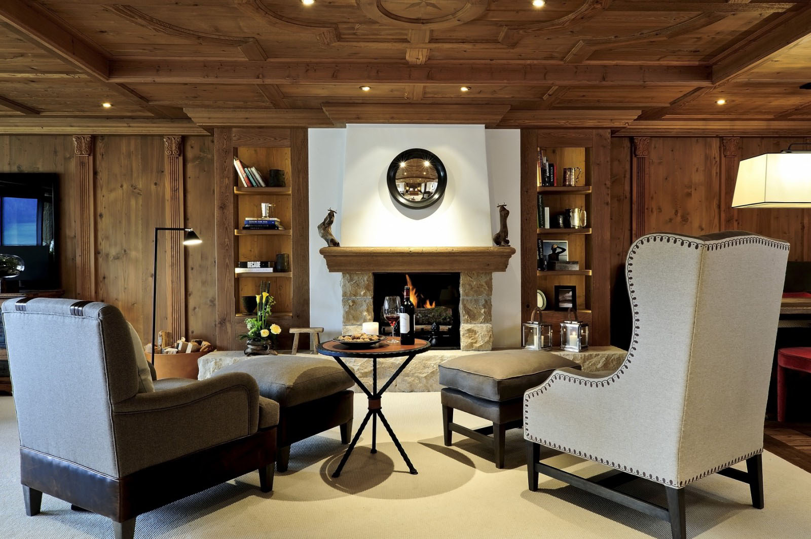 Stone Fireplace with Wood Mantel and Wood Panel Walls & Ceilings