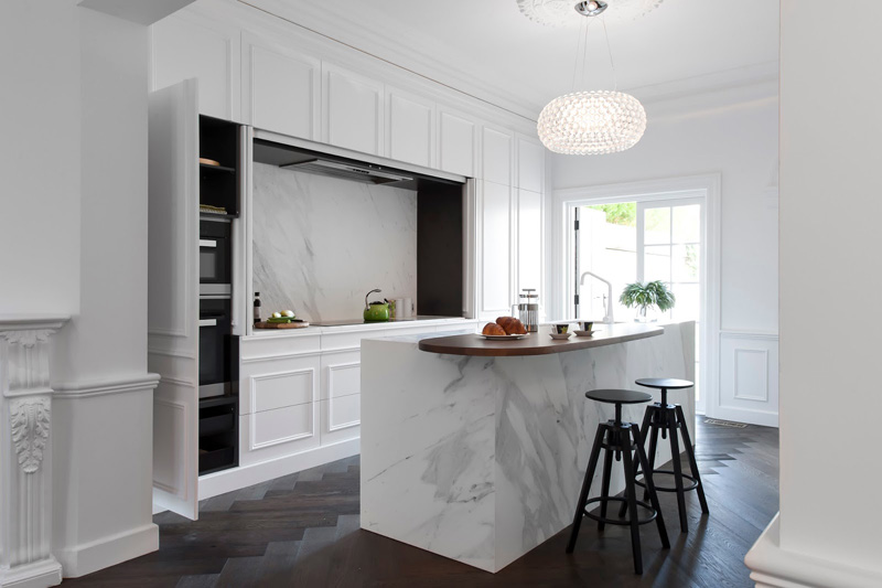 Parisian Style Contemporary Hidden Kitchen