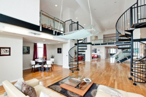 Contemporary Penthouse Loft with Spiral Staircases