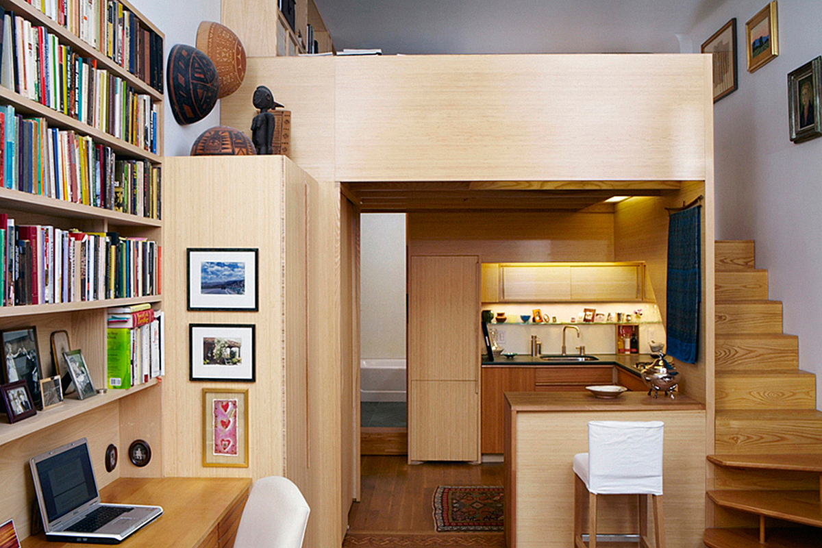Efficient Design Of A Tiny Apartment Loft In Nyc