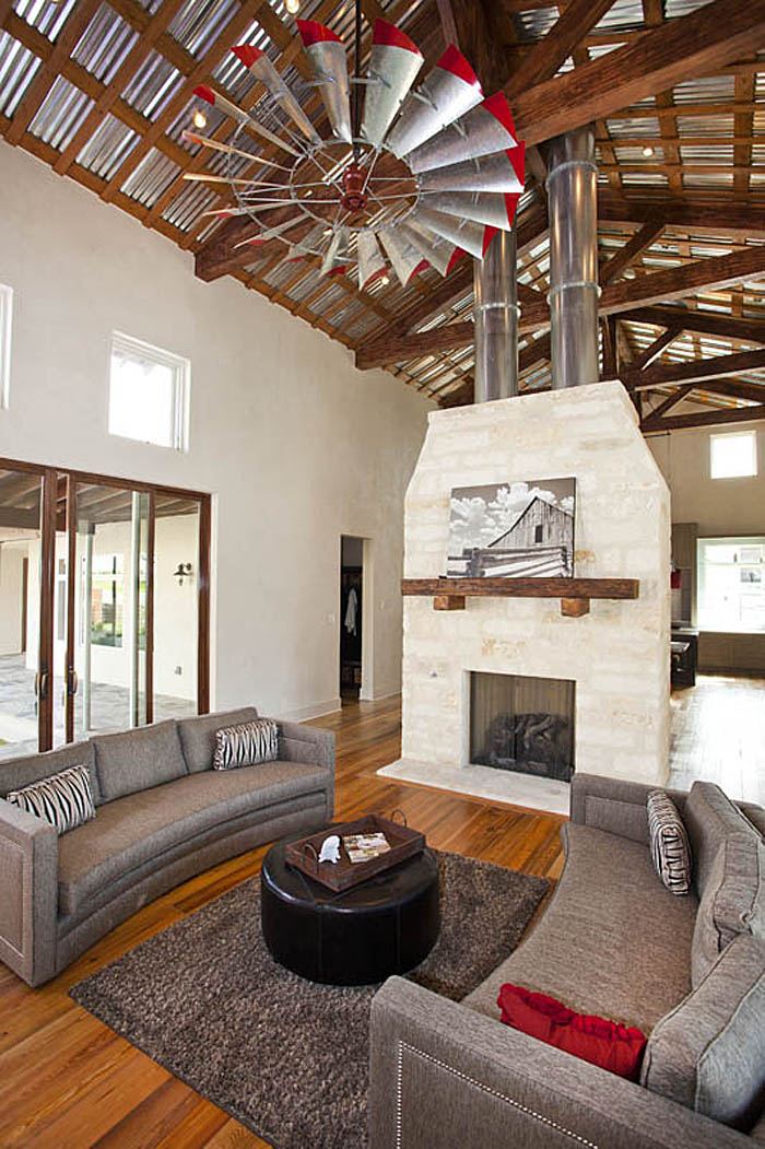 Modern Farmhouse Fireplace High Ceilings