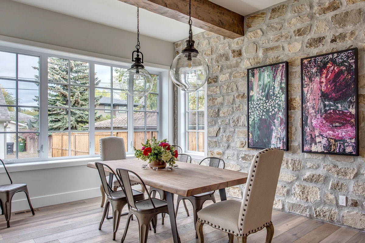 Dining Room with Stone Walls