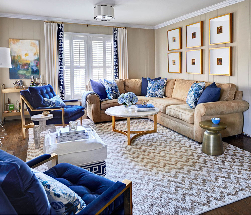 Blue Accented Living Room Decor