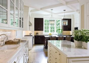 Elegant Large Traditional Kitchen with Marble countertops