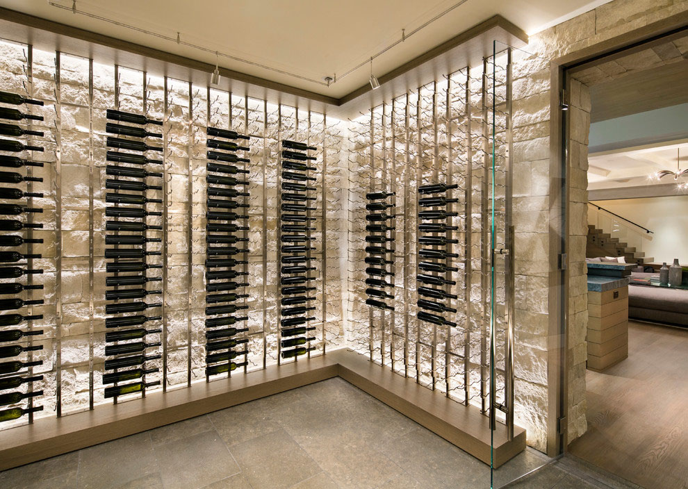 Modern Wine Cellar with Stone Walls