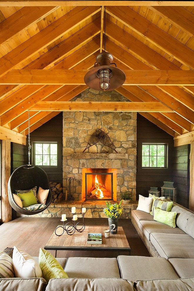 Adirondack Vacation Home with Timber Frame Roof Ceiling