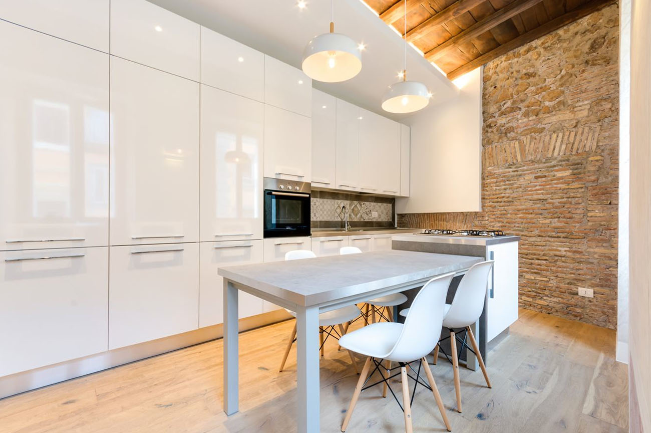 Contemporary Apartment with Stone Walls