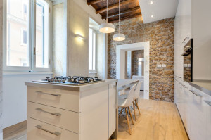 Renovated Modern Kitchen with Stone Wall