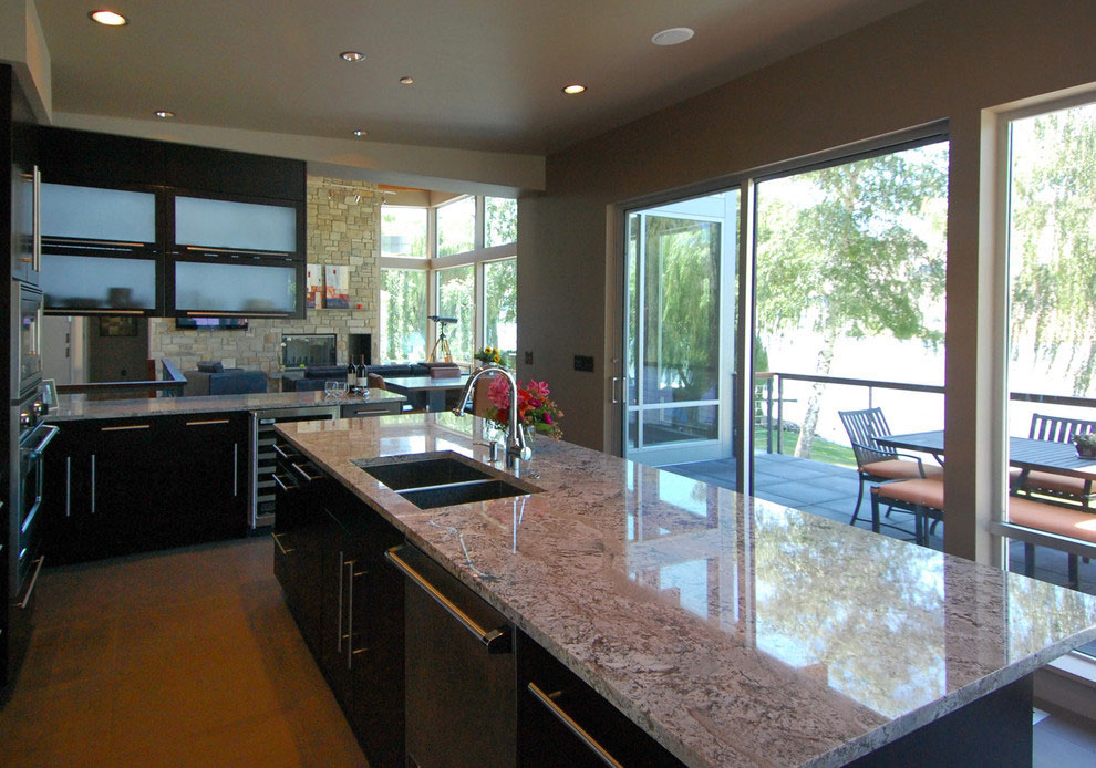 Kitchen with water view