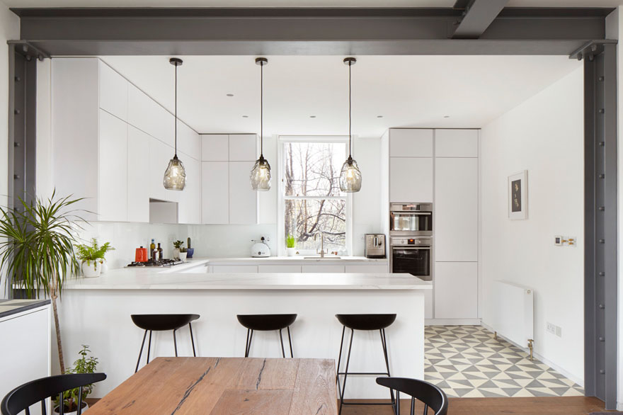 Renovated Modern White Apartment Kitchen