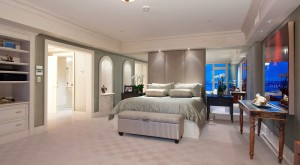 Master Suite with raw silk wall treatment