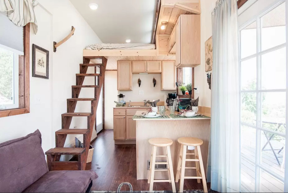Tiny House Spacious Kitchen and Stairs