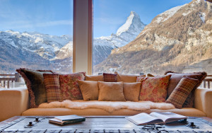 Living Room View of Matterhorn Swiss Mountain