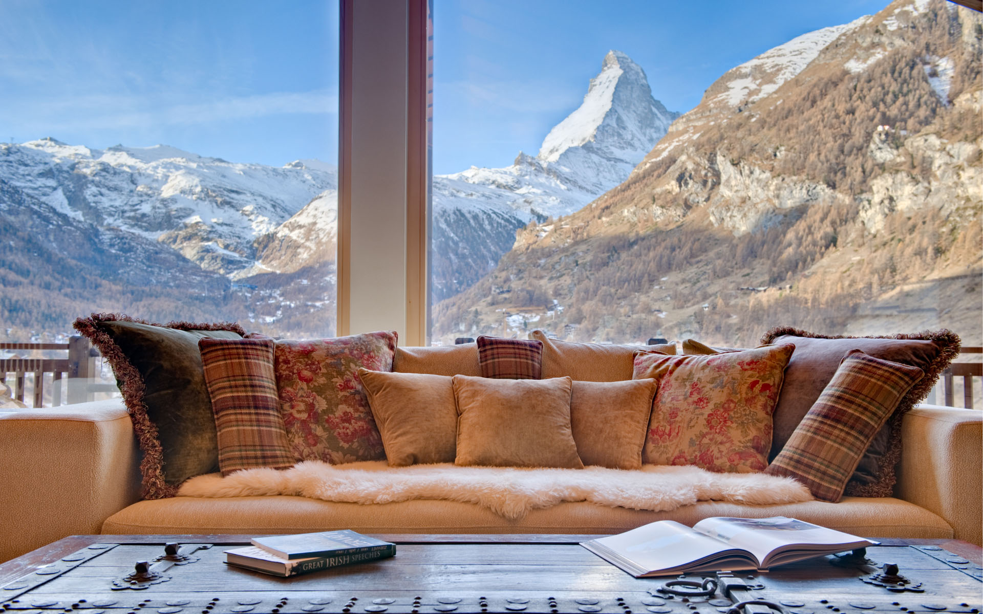 Living Room View of Matterhorn Swiss Mountain
