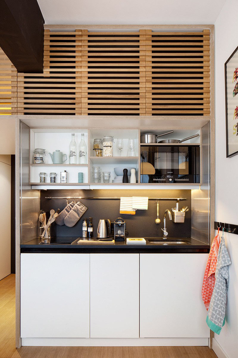 Tiny Modern Studio Apartment Kitchen