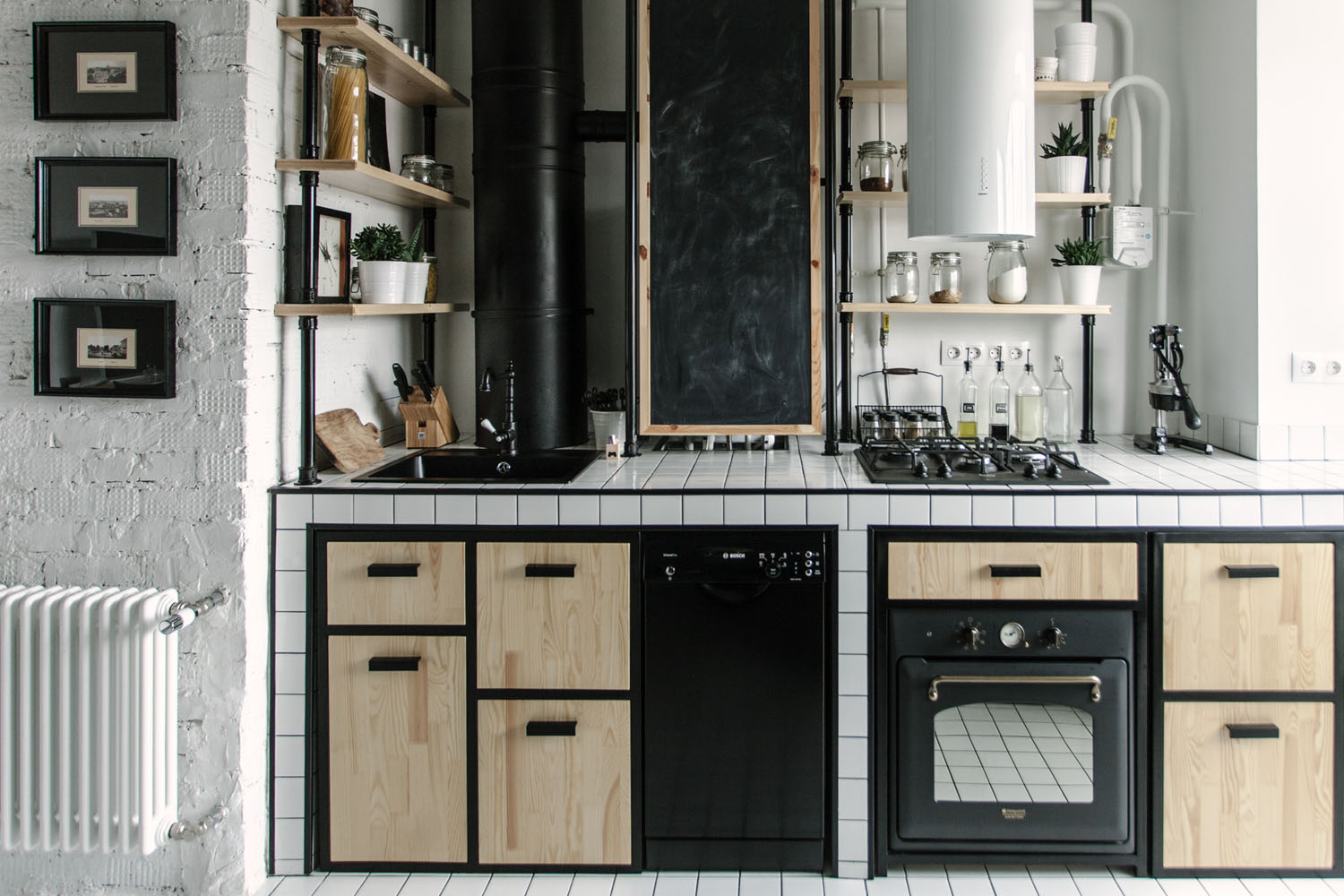 Black and White Kitchen with Wood Cabinets